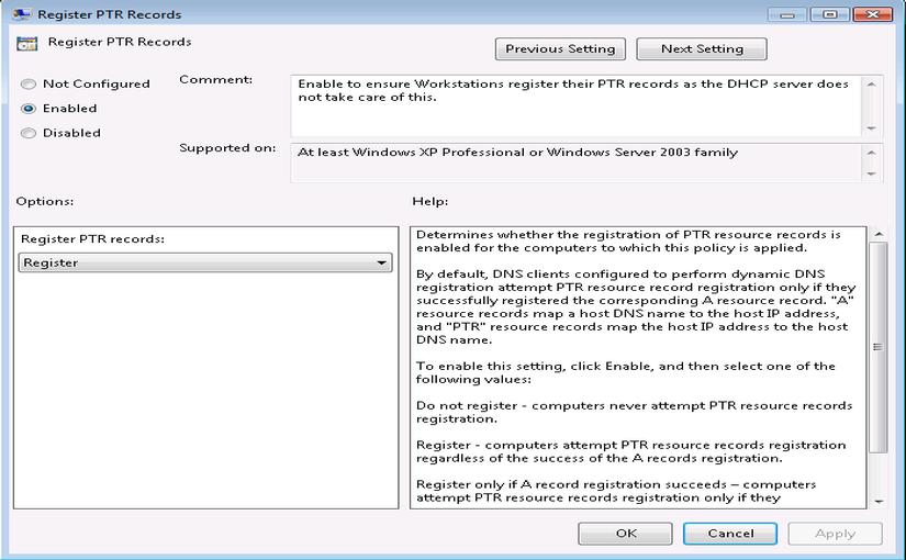 Автоматическое создание PTR Windows 7